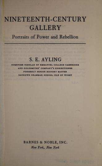 Cover of: Nineteenth-century gallery by Stanley Edward Ayling